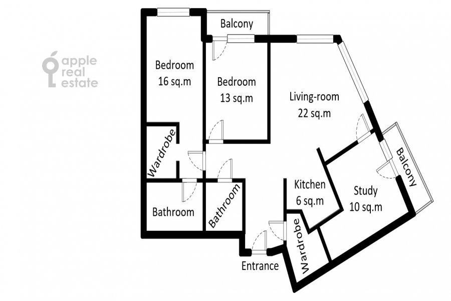 Floor plan of the 4-room apartment at Shelepikhinskaya naberezhnaya 34k2