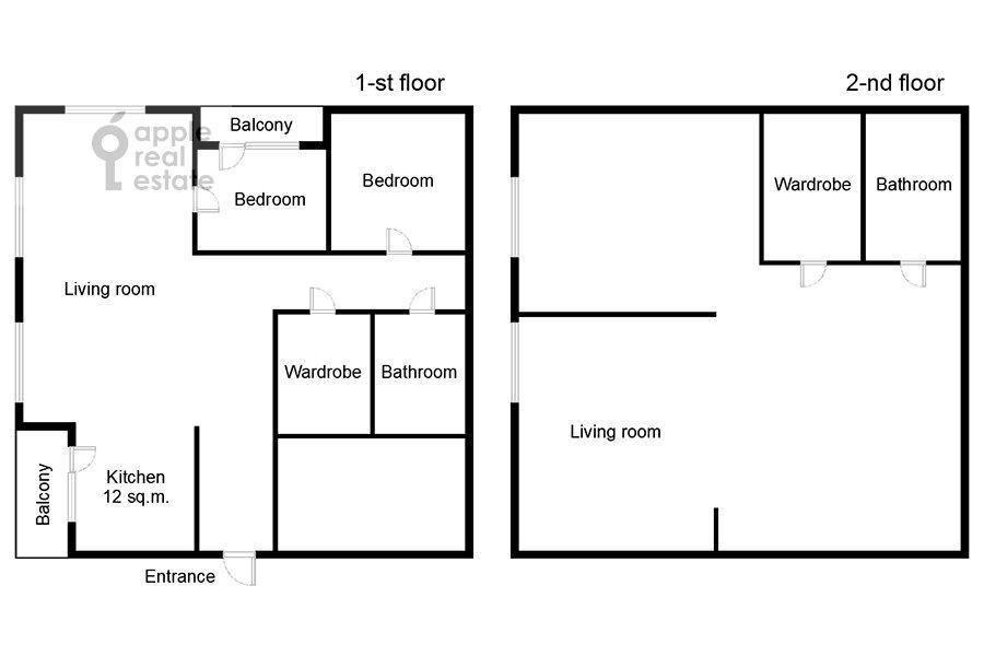 Floor plan of the 6-room apartment at Shelepikhinskaya nab 34