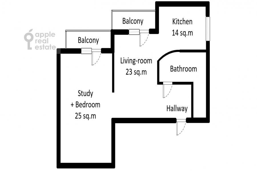 Floor plan of the 2-room apartment at Akademika Anokhina 2k2