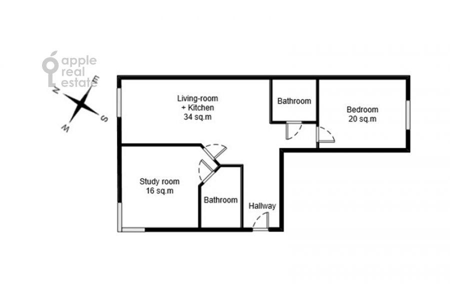 Floor plan of the 3-room apartment at Ozerkovskaya naberezhnaya 26
