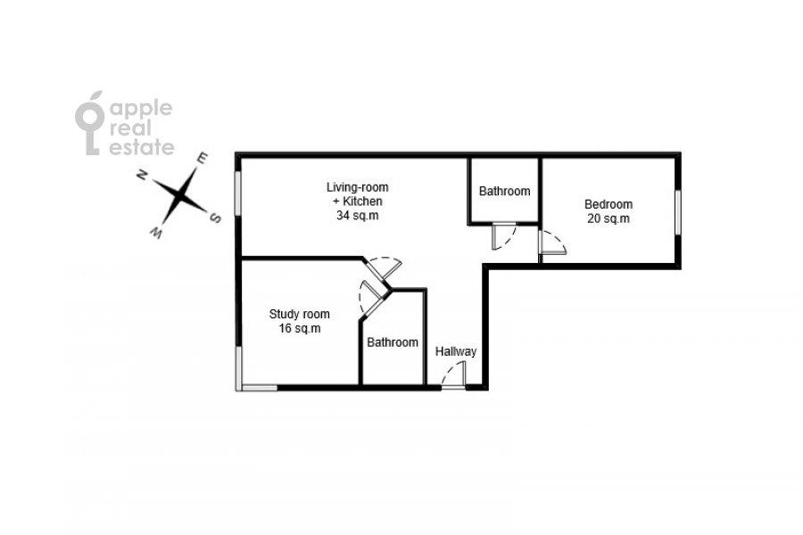 Поэтажный план 3-комнатной квартиры по адресу Озерковская набережная 26