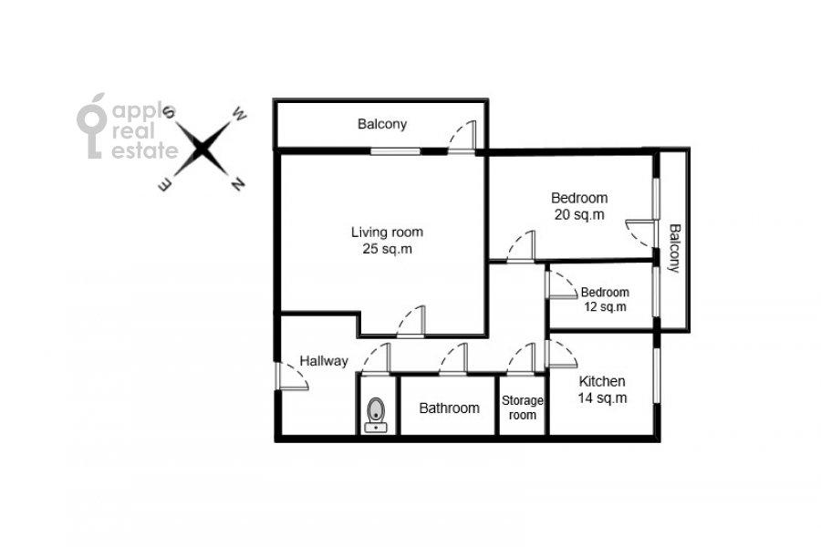 Поэтажный план 3-комнатной квартиры по адресу Воротниковский переулок 2/11