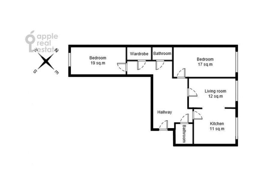 Поэтажный план 3-комнатной квартиры по адресу Хорошевское шоссе 12к1