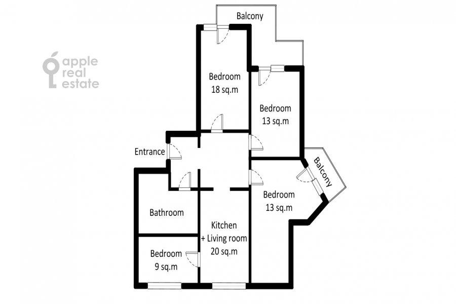 Поэтажный план 4-комнатной квартиры по адресу Талалихина 1к3