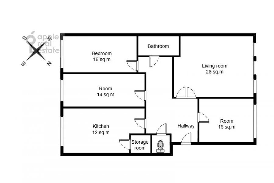 Поэтажный план 4-комнатной квартиры по адресу Большая Ордынка 13/9с1