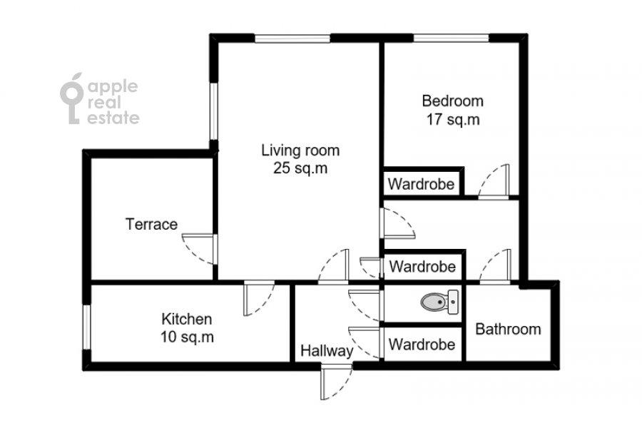 Floor plan of the 2-room apartment at Bol'shaya Dekabr'skaya ulitsa 13
