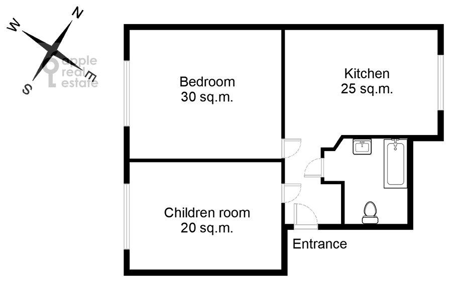 Поэтажный план 2-комнатной квартиры по адресу Большая Полянка 28К2