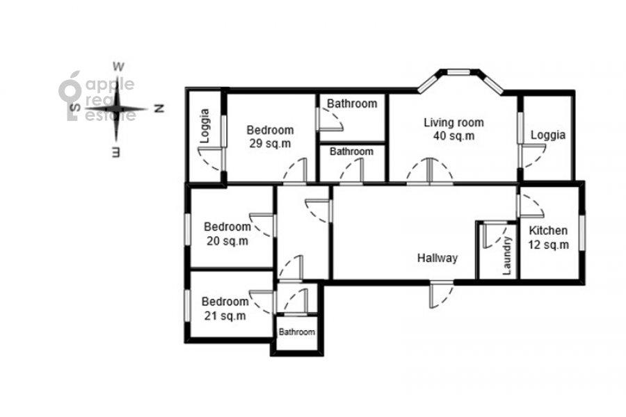 Поэтажный план 4-комнатной квартиры по адресу Пожарский переулок 7А