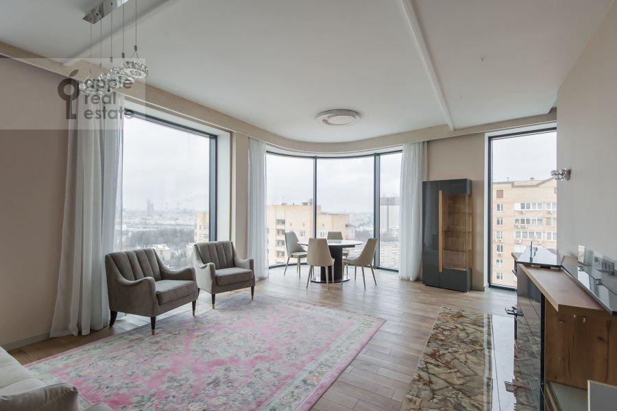 Living room of the 3-room apartment at Leninskiy prospekt 38Ak3