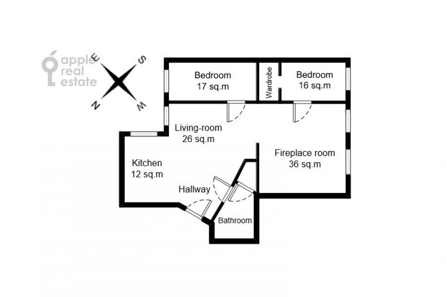 Поэтажный план 4-комнатной квартиры по адресу 1-я Брестская ул. 36