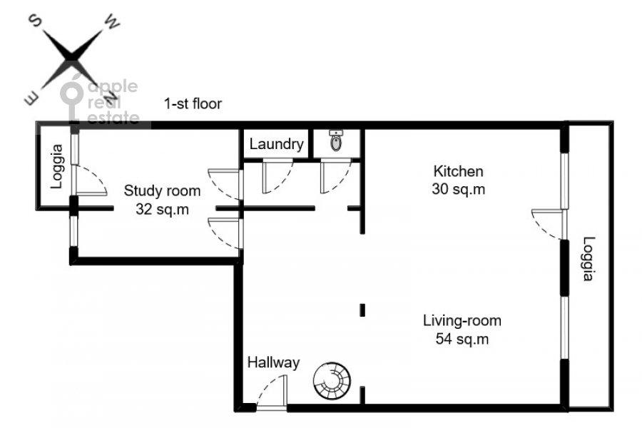 Floor plan of the 6-room apartment at Michurinskiy prospekt 29