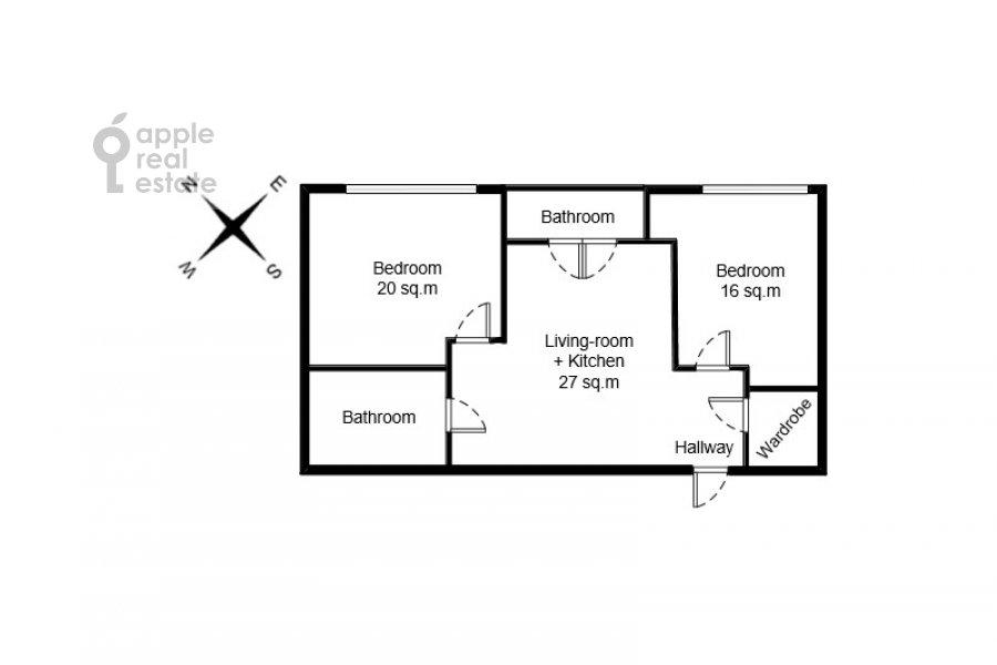Поэтажный план 3-комнатной квартиры по адресу Ленинградский проспект 29к4