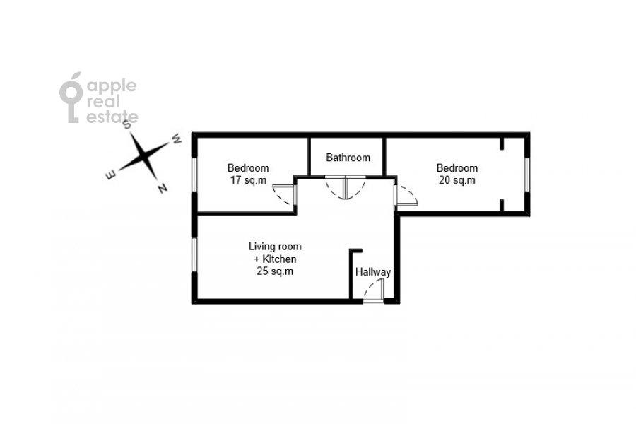 Floor plan of the 3-room apartment at Leningradskiy prospekt 29k4