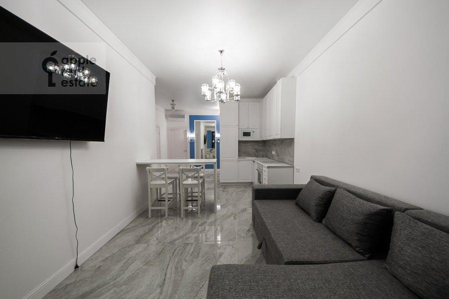 Living room of the 3-room apartment at Leningradskiy prospekt 29k4