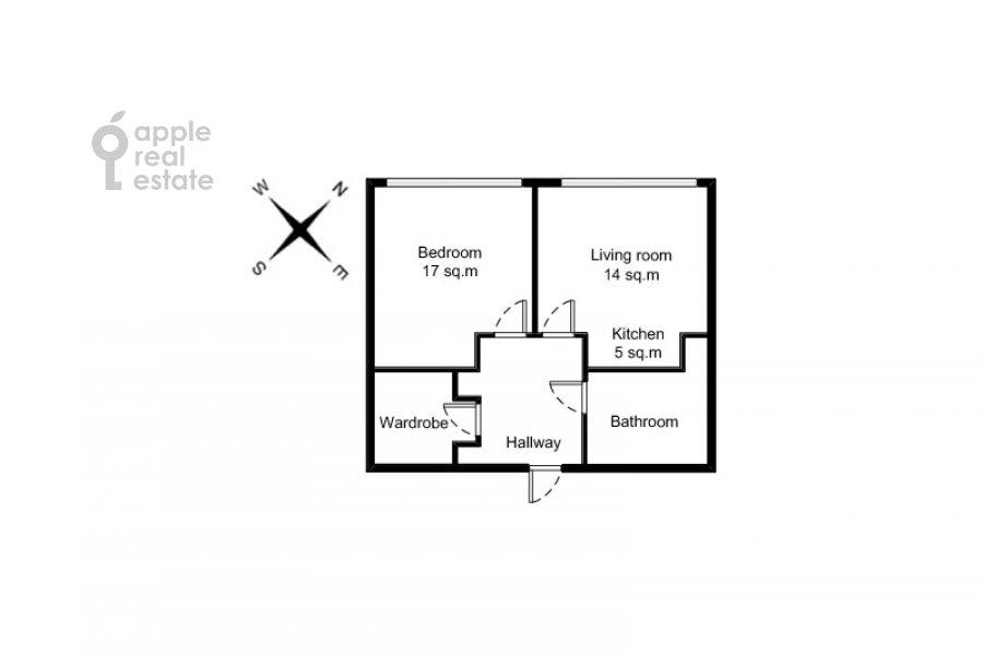 Floor plan of the 2-room apartment at Aviakonstruktora Sukhogo 2k1