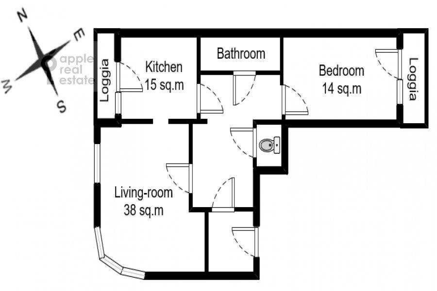 Floor plan of the 2-room apartment at Grokhol'skiy pereulok 28