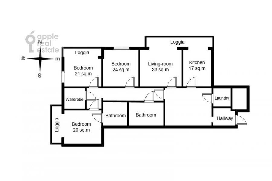Поэтажный план 4-комнатной квартиры по адресу Цветной бульвар 15к2