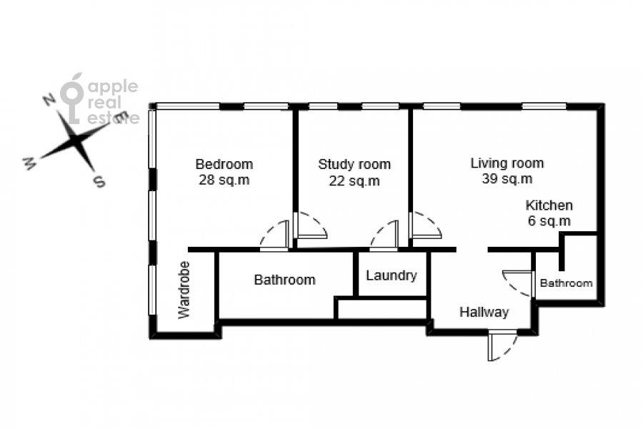Floor plan of the 3-room apartment at Bol'shaya Gruzinskaya ulitsa 69