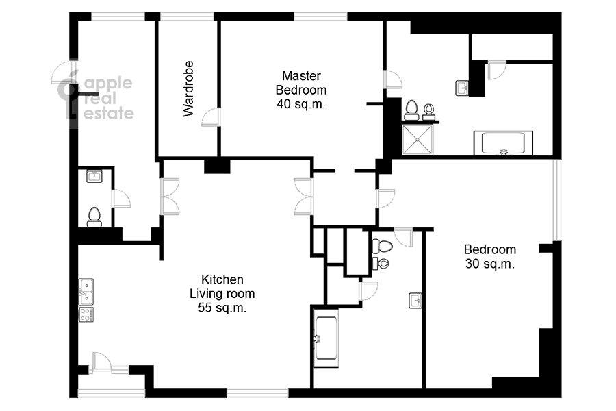 Поэтажный план 3-комнатной квартиры по адресу 2-й Казачий переулок 4с1