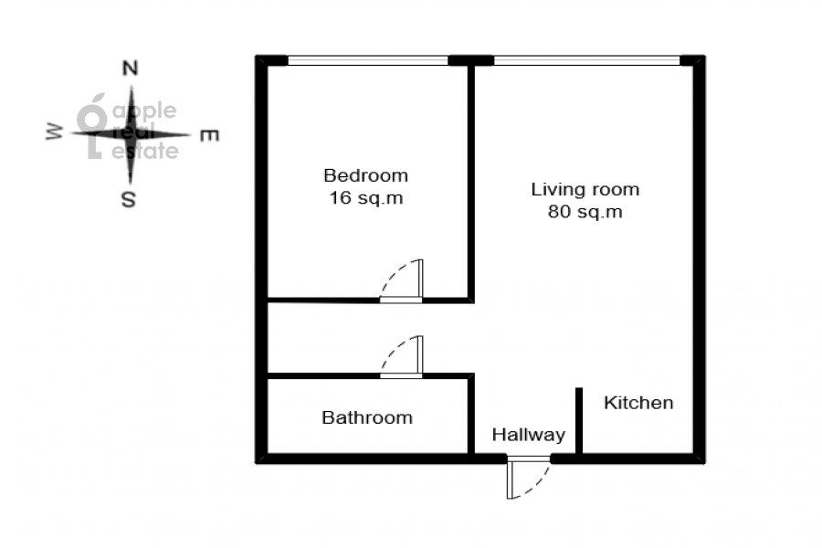 Поэтажный план 2-комнатной квартиры по адресу 1-й Красногвардейский проезд 22к2