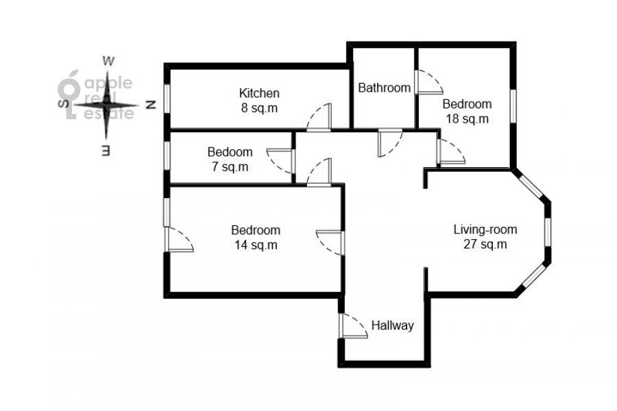 Floor plan of the 4-room apartment at Goncharnaya ulitsa 26k1