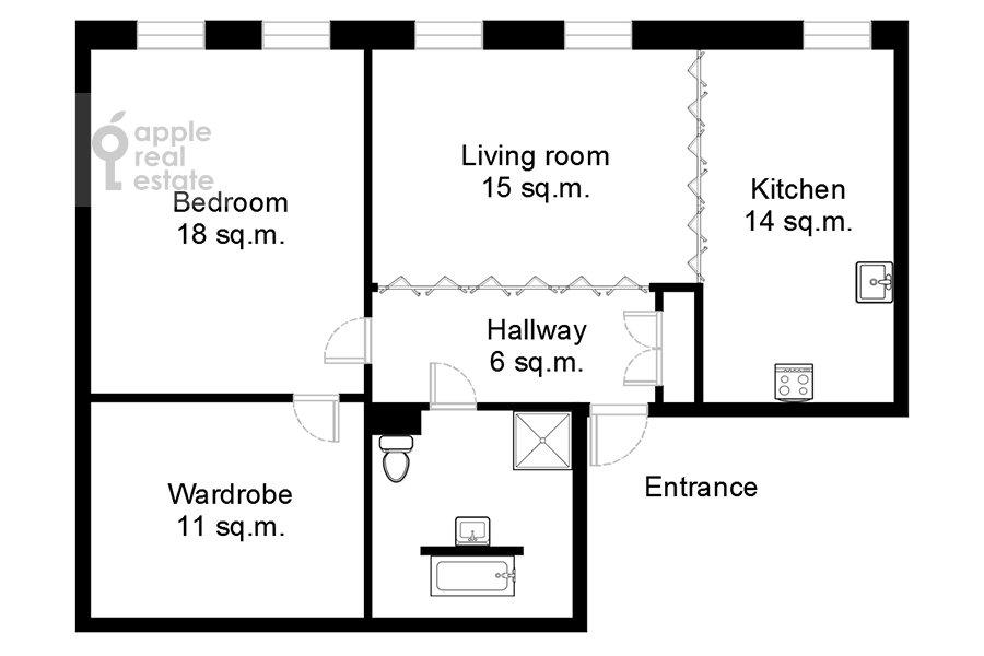 Floor plan of the 2-room apartment at Bol'shaya Sukharevskaya ploshiad' 16/18S2