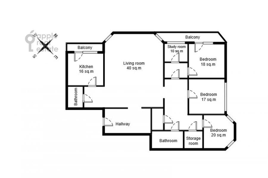 Поэтажный план 4-комнатной квартиры по адресу 2-я Тверская-Ямская улица 54