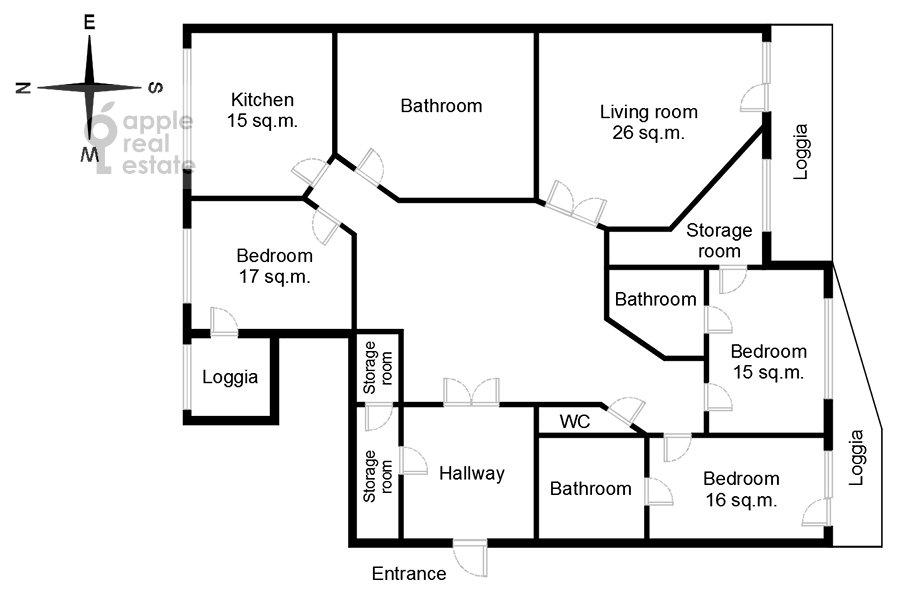 Поэтажный план 4-комнатной квартиры по адресу Мичуринский проспект 6к1