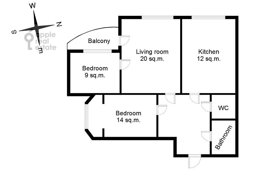 Поэтажный план 3-комнатной квартиры по адресу Чертановская улица 38к2