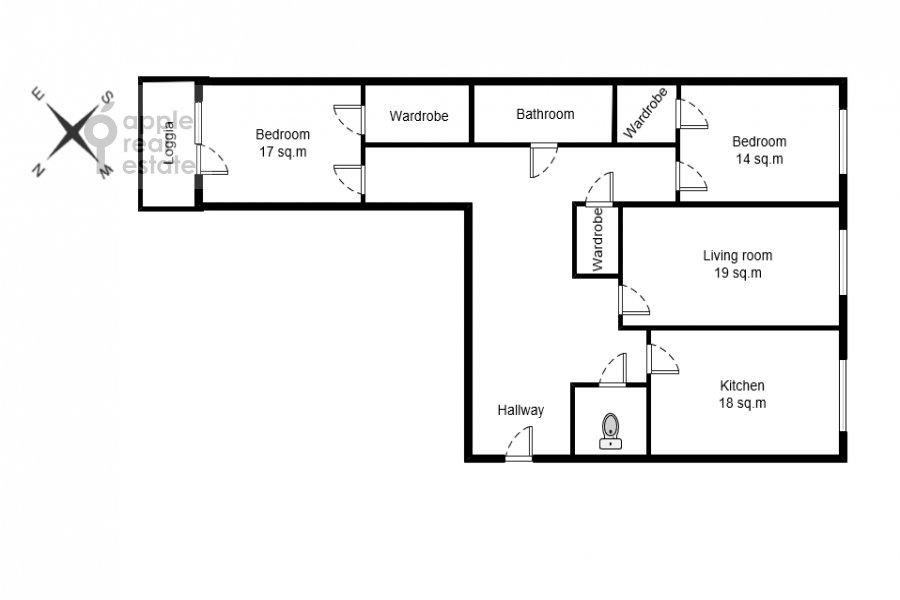 Поэтажный план 3-комнатной квартиры по адресу Мытная ул 7с1