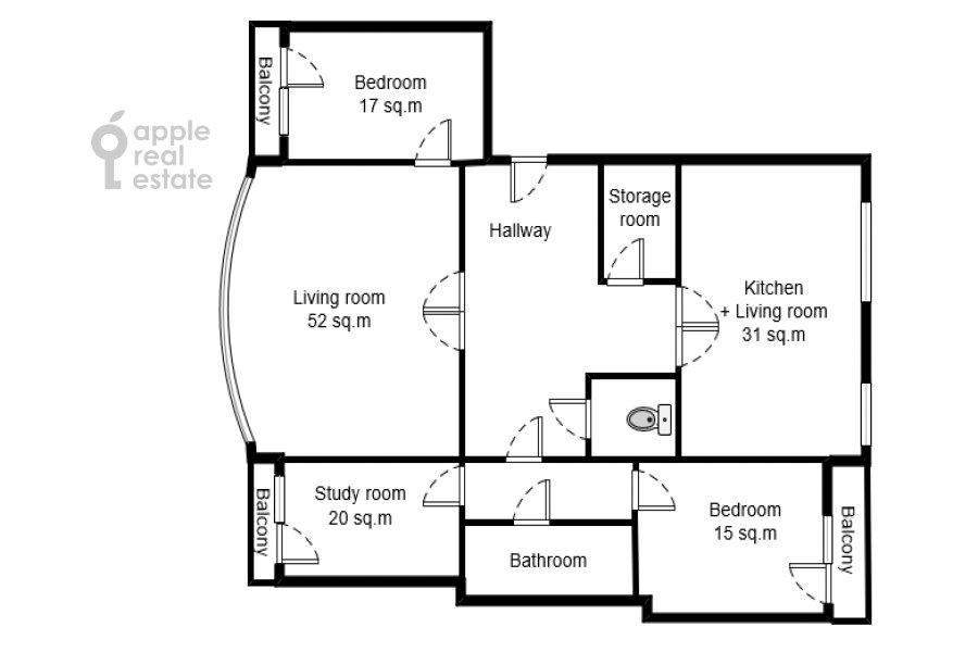 Поэтажный план 4-комнатной квартиры по адресу Вересаева 6
