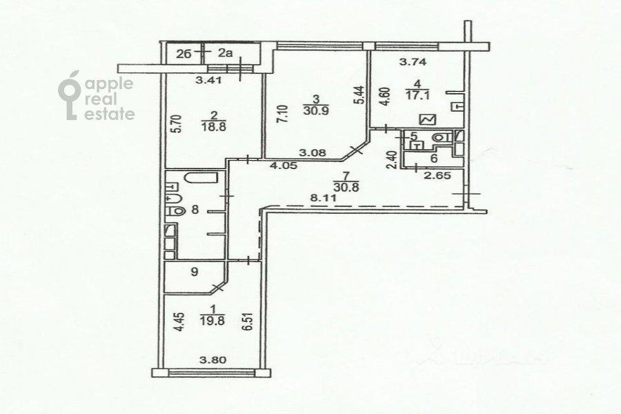 Floor plan of the 3-room apartment at Usacheva ulitsa 2s 3