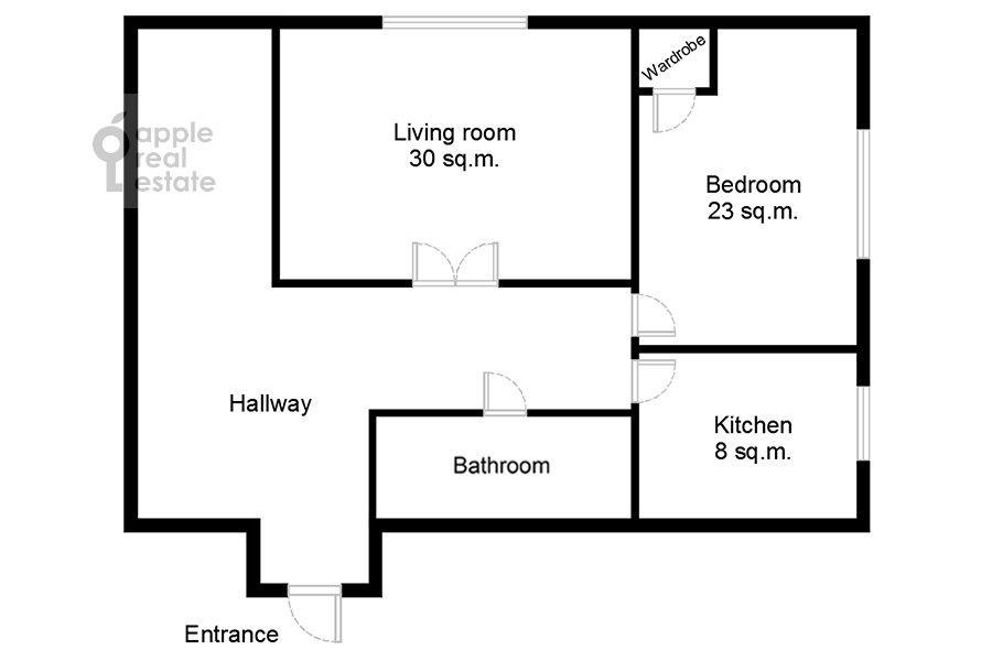 Поэтажный план 2-комнатной квартиры по адресу Мерзляковский переулок 13