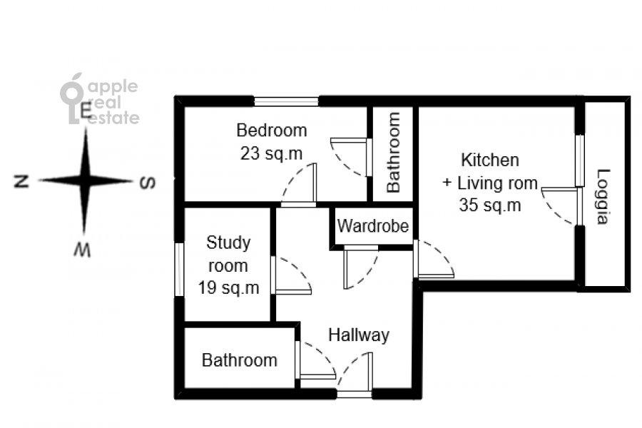 Floor plan of the 3-room apartment at ulitsa Marshala Biryuzova 31