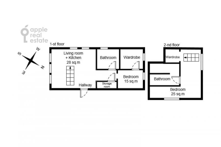 Поэтажный план 3-комнатной квартиры по адресу Лялин переулок 19к1