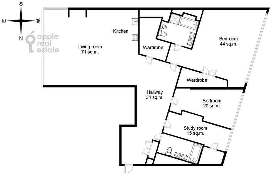 Floor plan of the 4-room apartment at Leningradskoe shosse 37k1