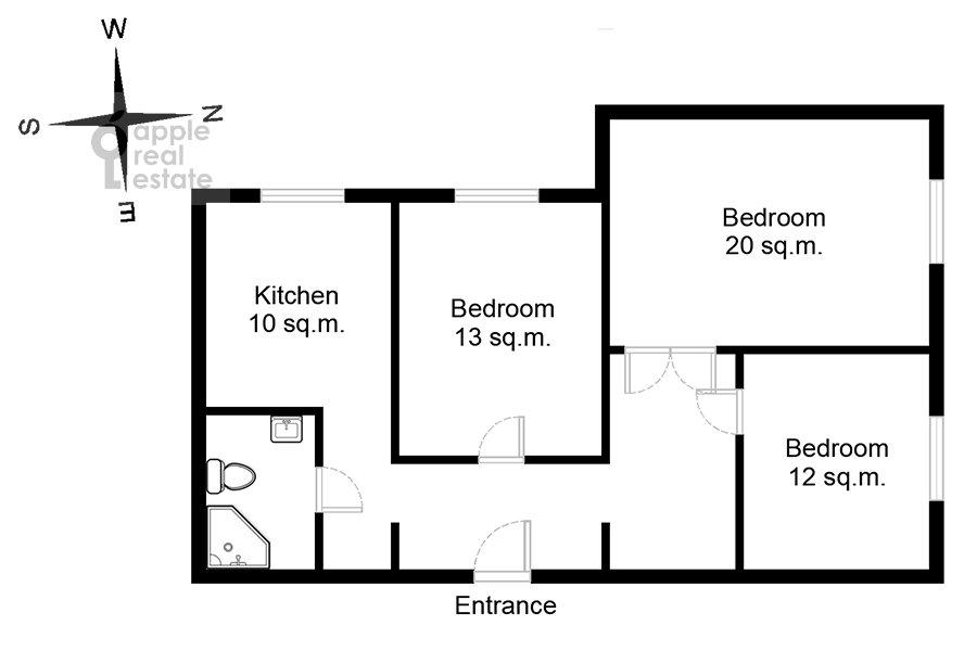 Floor plan of the 3-room apartment at Sergiya Radonezhskogo 12k1