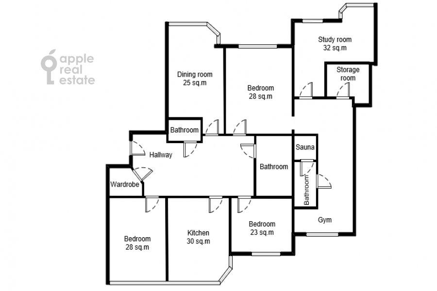 Поэтажный план 5-комнатной квартиры по адресу Рублевское шоссе 11к2