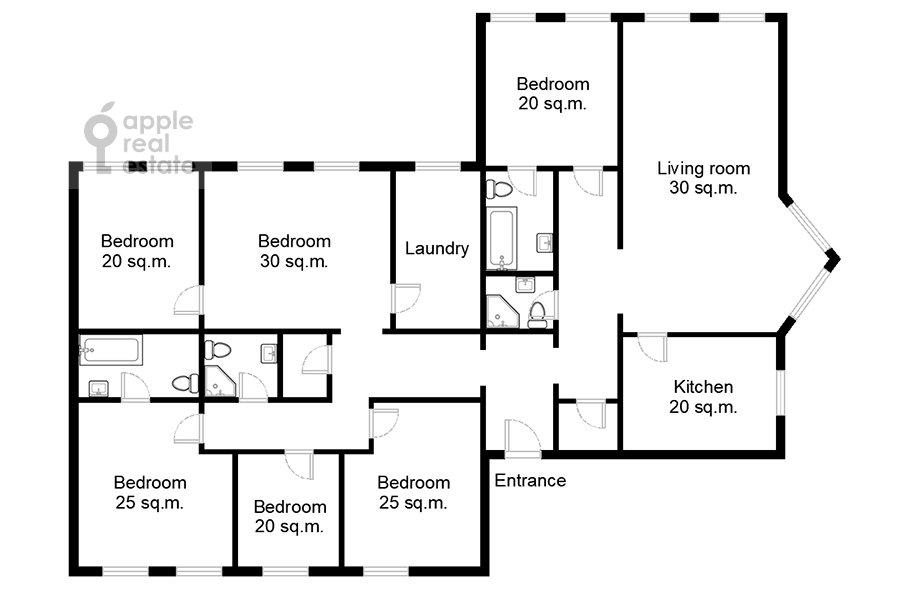 Поэтажный план 6-комнатной квартиры по адресу Последний переулок 21