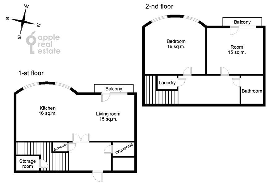Поэтажный план 3-комнатной квартиры по адресу Старослободская улица 3