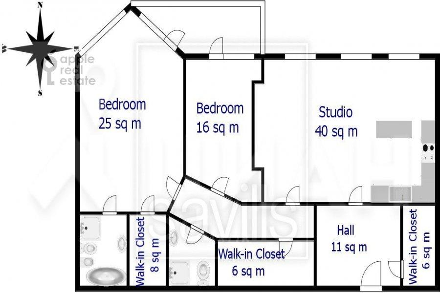 Floor plan of the 3-room apartment at Bol'shaya Yakimanka 50
