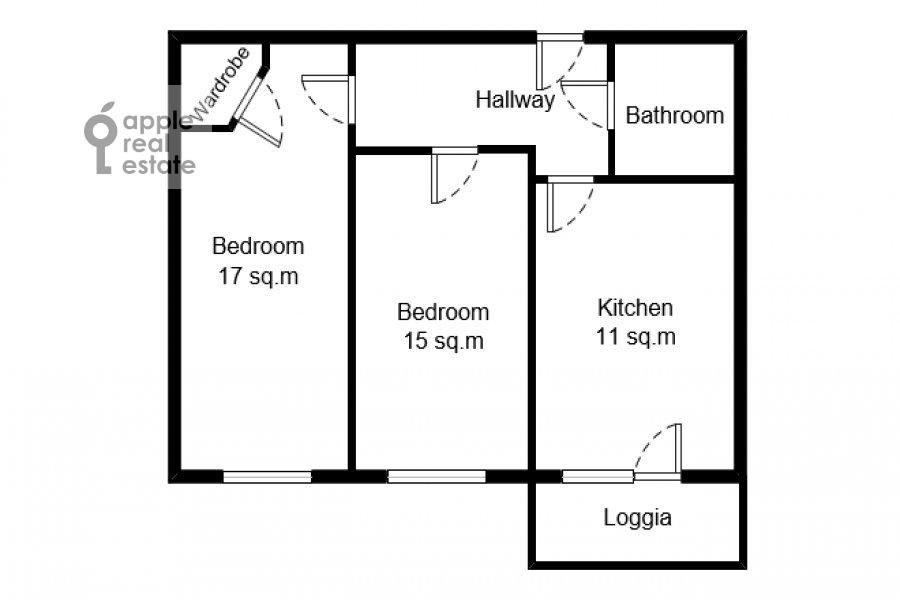 Поэтажный план 3-комнатной квартиры по адресу Конюхова 9