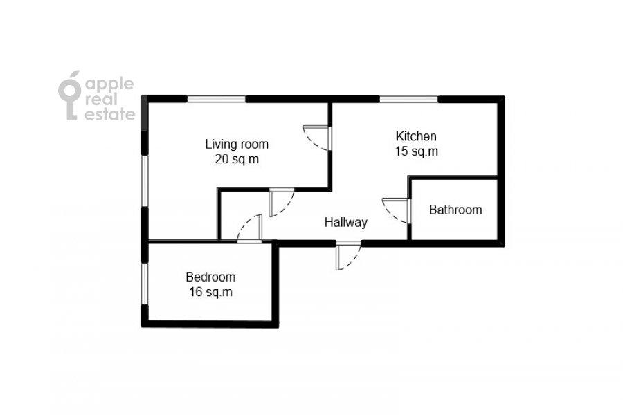 Поэтажный план 2-комнатной квартиры по адресу Ленинградский пр-кт 36с37