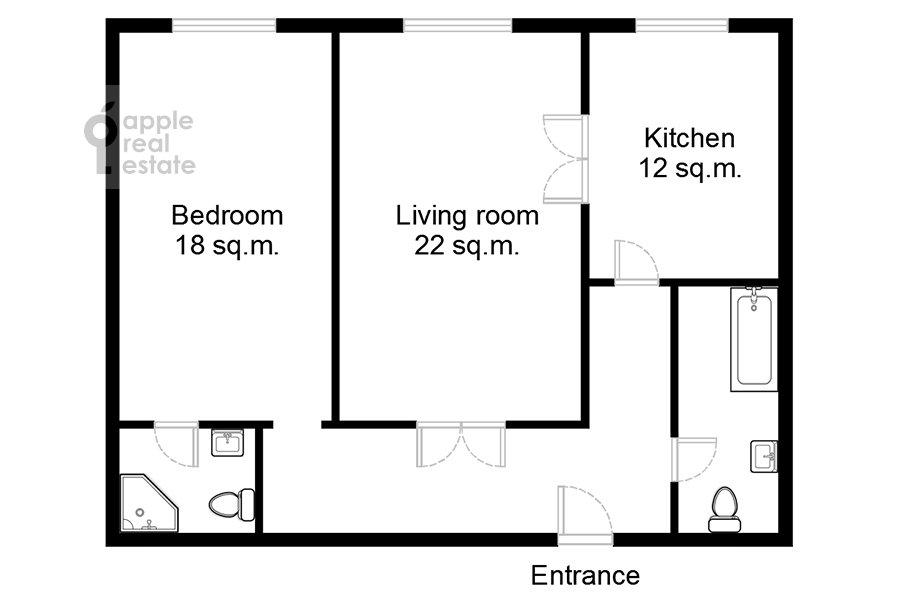 Floor plan of the 2-room apartment at Leningradskiy pr-kt 36s38