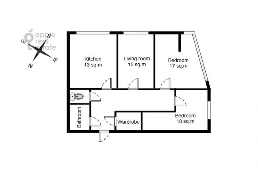 Floor plan of the 3-room apartment at Avtozavodskaya ulitsa 23Bk2