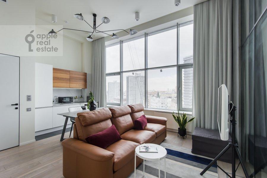 Living room of the 2-room apartment at Novyy Arbat ul 15