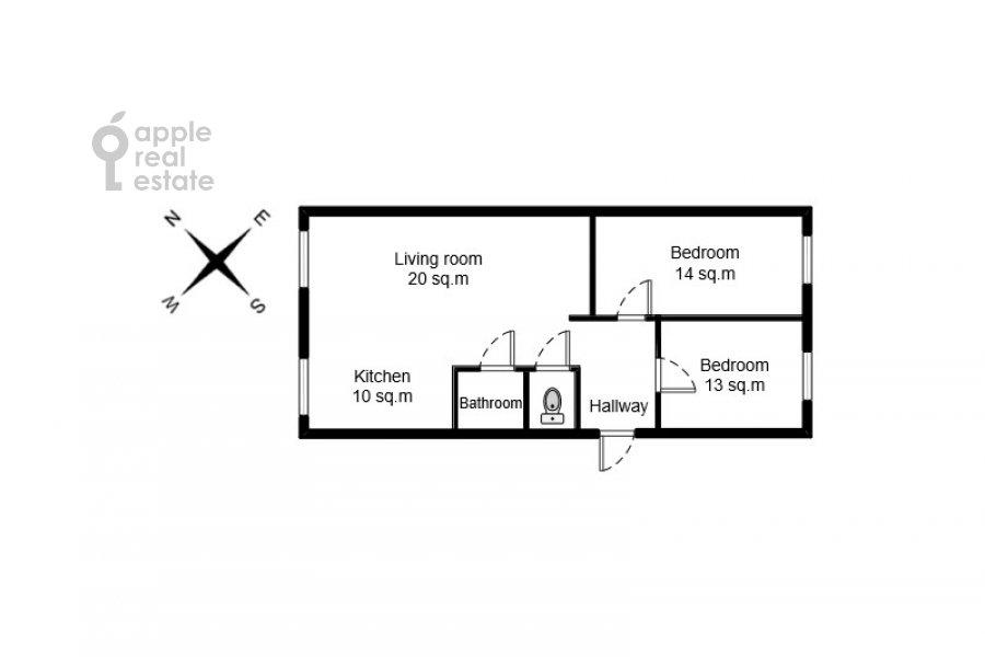 Поэтажный план 3-комнатной квартиры по адресу Автозаводская ул 5