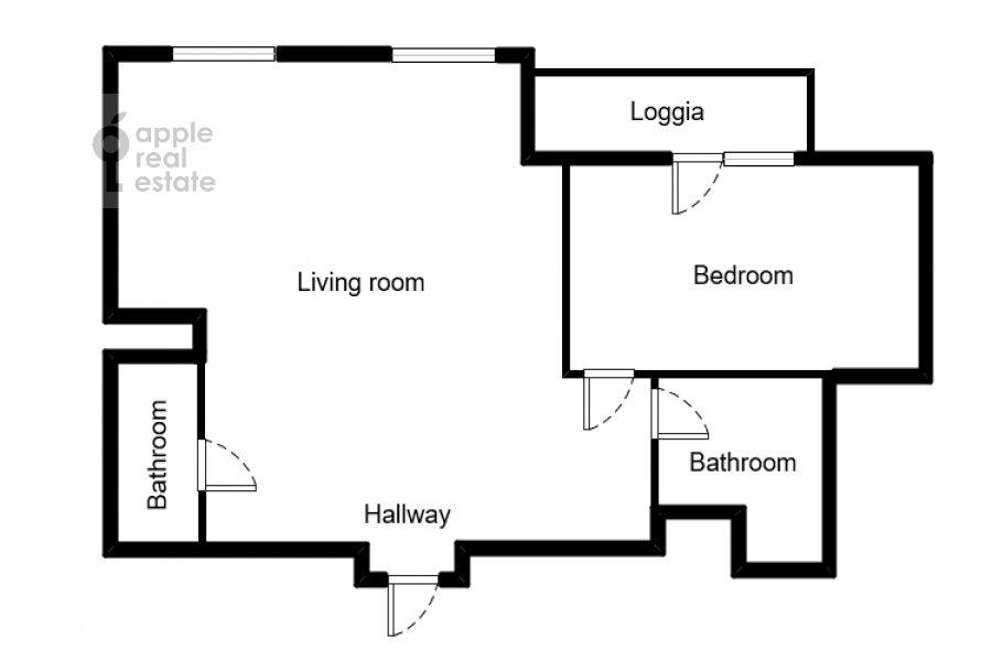 Поэтажный план 2-комнатной квартиры по адресу Ломоносовский проспект 25к2