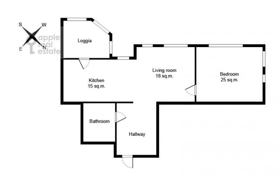 Поэтажный план 2-комнатной квартиры по адресу Мосфильмовская улица 88к7