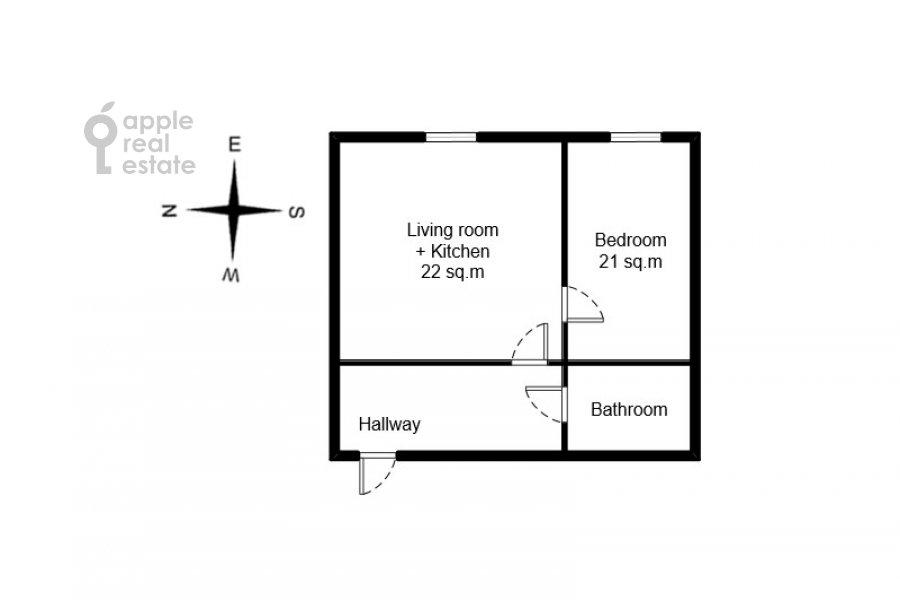 Floor plan of the 2-room apartment at Aviatsionnaya ulitsa 77k2